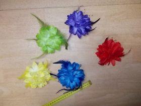 Stoffblume mit Feder, Ansteckblume, Haarband